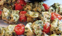 Grilled Pesto & Chicken Kabobs