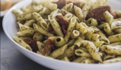Creamy Garlic Scape & Sun-dried Tomato Pesto Pasta